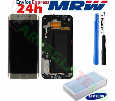 Display For Samsung Galaxy S6 Edge, Color Gold, With Frame, Original Amoled Samsung - 1