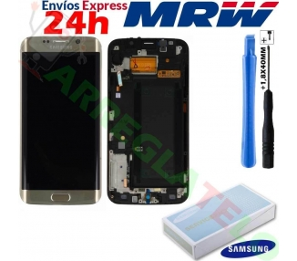 Display For Samsung Galaxy S6 Edge, Color Gold, With Frame, Original Amoled