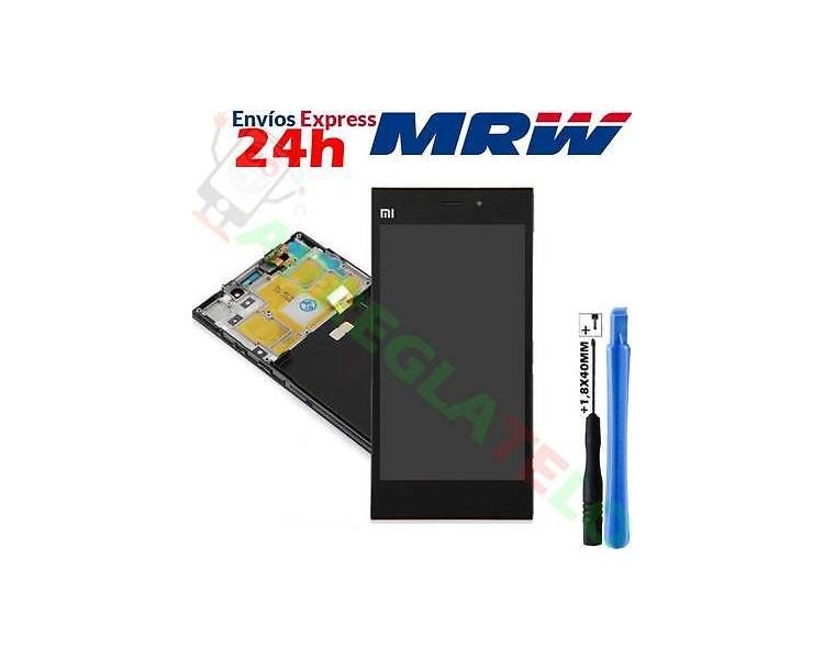 Display For Xiaomi Mi 3, Color Black, With Frame ARREGLATELO - 1
