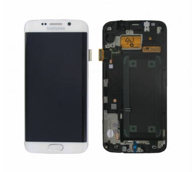 Display For Samsung Galaxy S6 Edge, Color White, With Frame, Original Amoled Samsung - 1