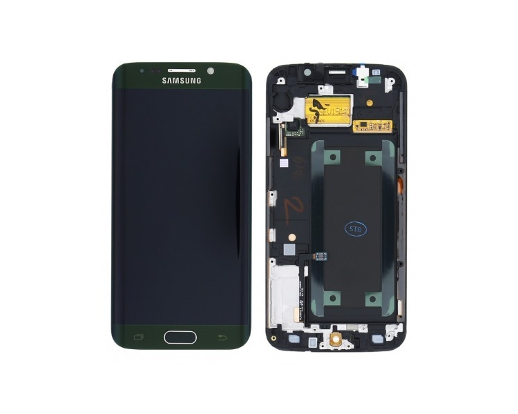 Display For Samsung Galaxy S6 Edge, Color Green, With Frame, Original Amoled Samsung - 1