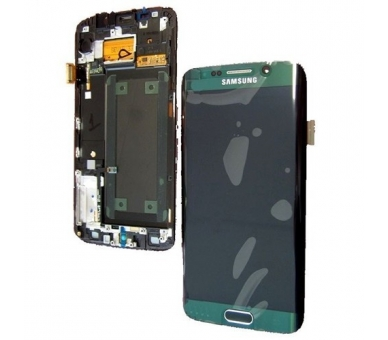Display For Samsung Galaxy S6 Edge, Color Green, With Frame, Original Amoled Samsung - 3