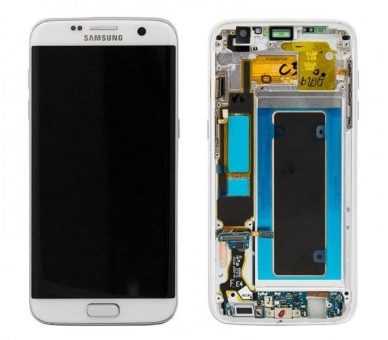 Display For Samsung Galaxy S7 Edge, Color White, With Frame, Original Amoled Samsung - 2