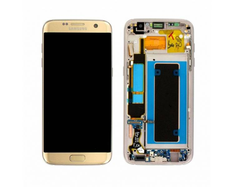 Display For Samsung Galaxy S7 Edge, Color Gold, With Frame, Original Amoled Samsung - 1