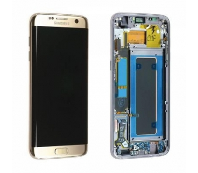Display For Samsung Galaxy S7 Edge, Color Gold, With Frame, Original Amoled Samsung - 2
