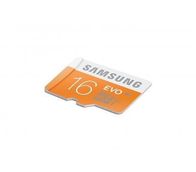 Samsung 16 GB Evo MicroSDHC UHS-I Grade 1 Class 10 Memory Card with SD Adapter (Standard Packaging) - Orange/White Samsung - 2