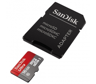 SanDisk Ultra 16 GB MicroSDHC UHS-I Memory Card with SD Adapter