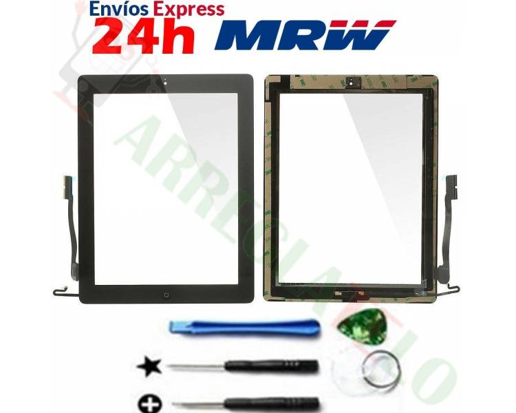 Touch Screen for iPad 4 with Button Home Black ARREGLATELO - 1