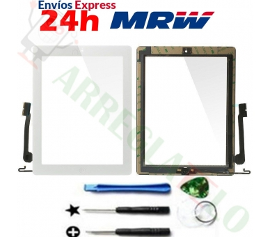 Touch Screen for iPad 4 with Button Home White ARREGLATELO - 1