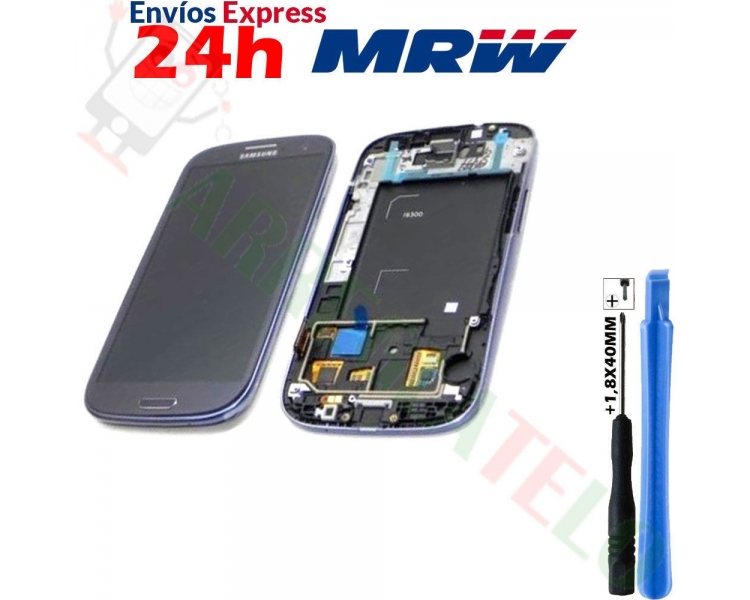 Display For Samsung Galaxy S3 T999, Color Black, With Frame, TFT ARREGLATELO - 1