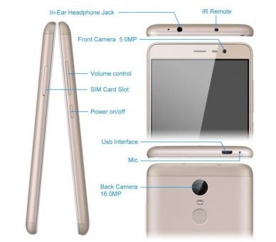 "Xiaomi Redmi Note 3 5.5 FHD 2GB 32GB Multilanguage Gold Gold "" Xiaomi - 4"
