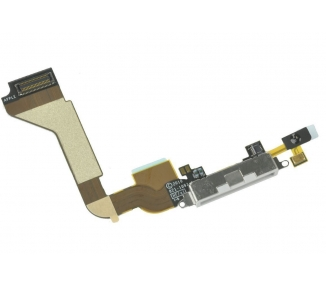 Cable Flex Conector Dock Carga y Datos Microfono para Iphone 4 4G Blanco