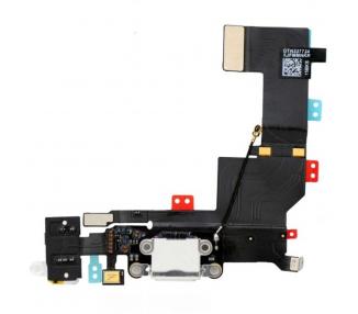 Conector Dock de carga de 3,5 mm puerto Flex Cable para iPhone 5s Blanco