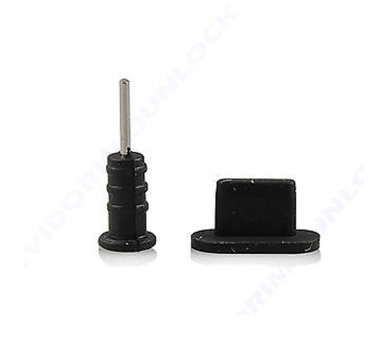 2 in 1 Audio Tapon for iPhone 5S - Black  - 1