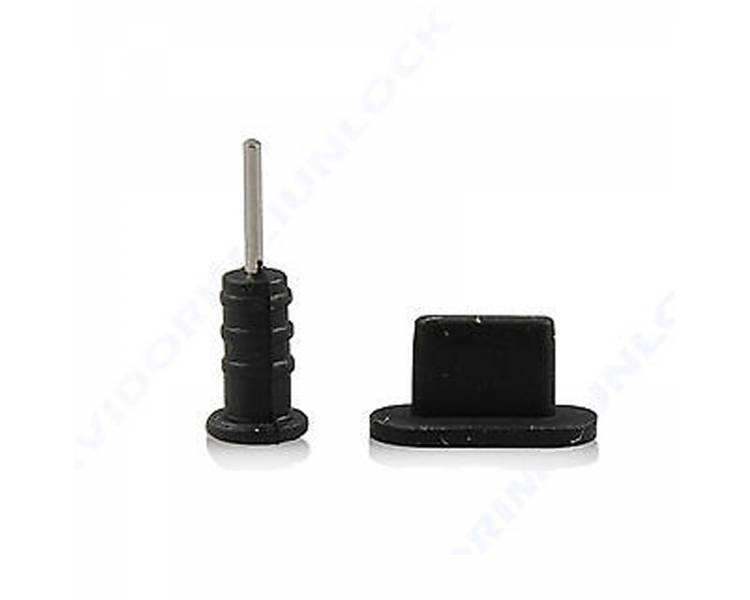 2 IN 1 SILICONE BLACK DOCK AUDIO DUST PROTECTOR CAP voor IPHONE 5C  - 1