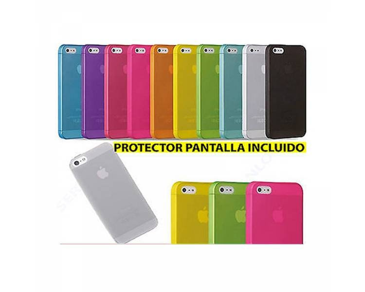Funda TPU Gel para Iphone 5 5S Matte Semi Transparente Azul + Protector Pantalla  - 1