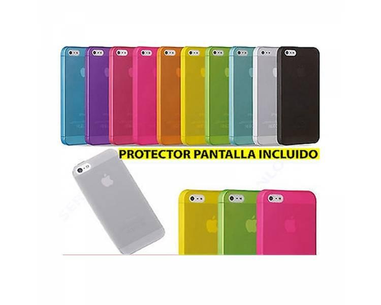 TPU Gel Case voor Iphone 5 5S Mat Semi Transparant Blauw + Screenprotector  - 1