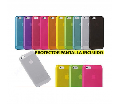 TPU Case Cover Iphone 5 5S Mat Semi Transparant Blauw + Screenprotector  - 1