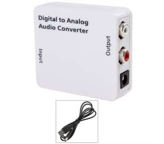 Conversor Audio Digital Blanco + Cable Alimentacion USB