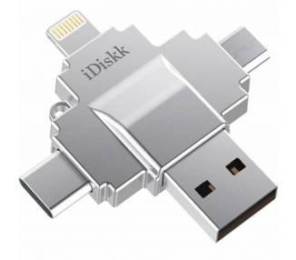 Pendrive memoria USB iDisk 64GB Tipo C, Micro USB, Lightning Flash Disk  - 1