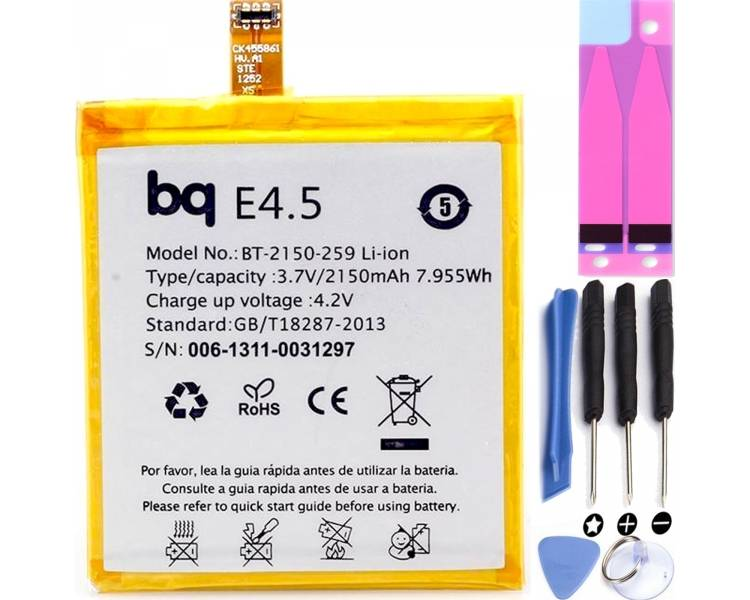 BATERIA REPUESTO COMPATIBLE CON BQ AQUARIS E4.5 E4,5 E 4.5 E 4,5 ARREGLATELO - 1