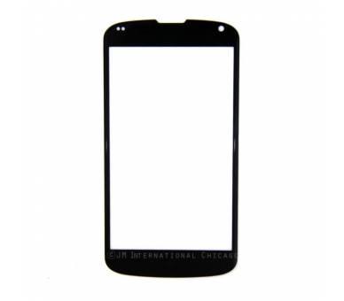 CRISTAL PANTALLA EXTERNO para TACTIL LCD para LG NEXUS 4 E960 NEGRO NEGRA  - 1