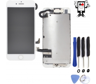 Display for iPhone 7, Color White, With Components & Home Button ARREGLATELO - 1