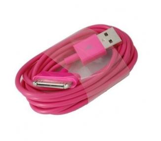 Cable usb carga cargador datos ROSA FUCSIA para iPhone Ipod Ipad 3 3G 3GS 4 4S ARREGLATELO - 2