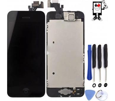 Scherm voor iPhone 5 Compleet met camera, knop en sensoren, zwart zwart ARREGLATELO - 1