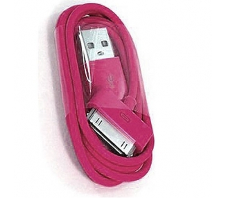 Cable usb carga cargador datos ROSA FUCSIA para iPhone Ipod Ipad 3 3G 3GS 4 4S