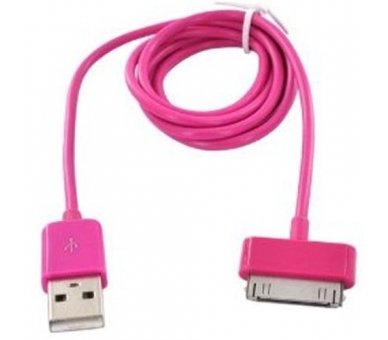 Cable usb carga cargador datos ROSA FUCSIA para iPhone Ipod Ipad 3 3G 3GS 4 4S - 6