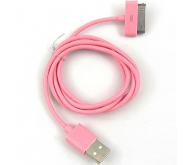 Cable usb carga cargador datos color ROSA para iPhone Ipod Ipad 3 3G 3GS 4 4S  - 1