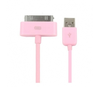 Cable usb carga cargador datos color ROSA para iPhone Ipod Ipad 3 3G 3GS 4 4S
