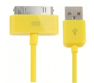 Cable usb carga cargador datos Amarillo para iPhone Ipod Ipad 3 3G 3GS 4 4S