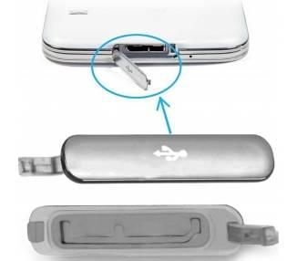 Tapa conector carga micro usb para Samsung Galaxy S5 Plata  - 1