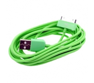 Cable usb carga cargador datos Color Verde para iPhone Ipod Ipad 3 3G 3GS 4 4S ARREGLATELO - 1