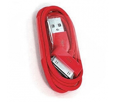 Cable usb carga cargador datos Color Rojo para iPhone Ipod Ipad 3 3G 3GS 4 4S - 1