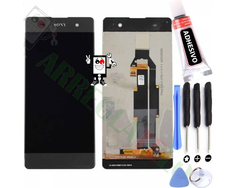 Volledig scherm voor Sony Xperia XA F3111 F3113 F3115 Zwart Zwart / Grijs FIX IT - 1