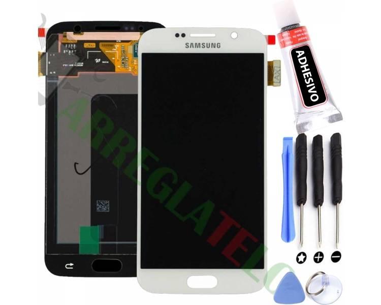 Schermo intero per Samsung Galaxy S6 G920F Bianco Bianco ARREGLATELO - 1
