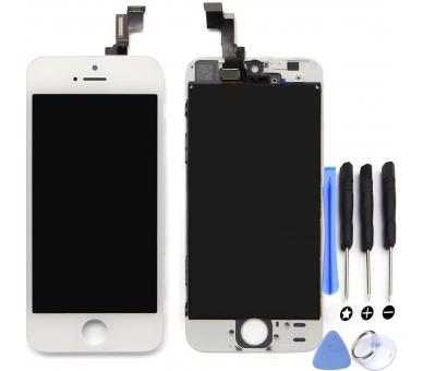 Voller Retina-Bildschirm mit Rahmen für iPhone 5C Weiß Weiß ARREGLATELO - 1
