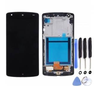 Vollbild mit Rahmen für LG NEXUS 5 D820 D821 Schwarz Schwarz