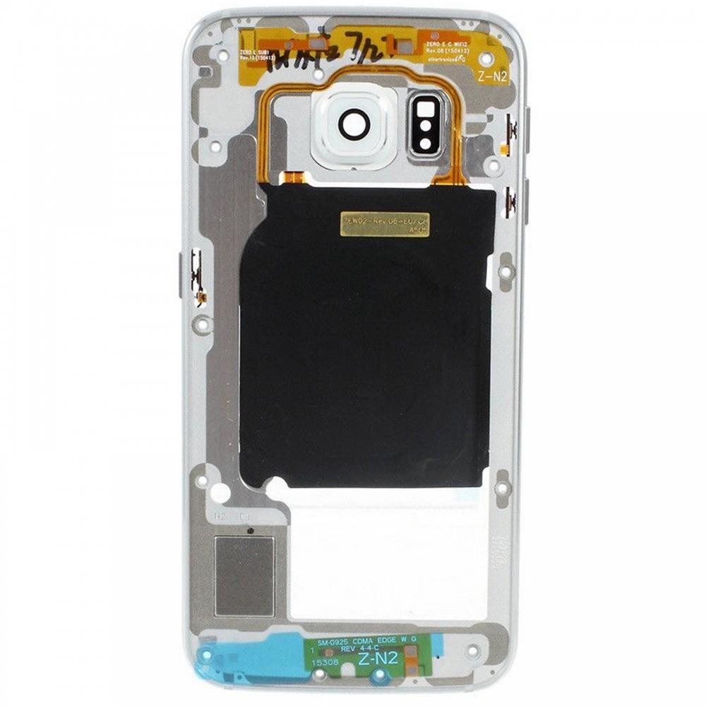 Chasis-Carcasa-para-Samsung-Galaxy-S6-G920F-Blanco-Plata