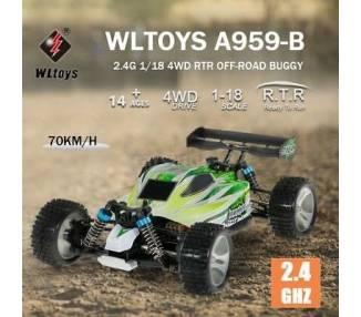 WLTOYS A959-B 2.4G 1/18 4WD 70KM/H ELÉCTRICO RTR OFF ROAD BUGGY RC COCHE R4H0 ARREGLATELO - 2