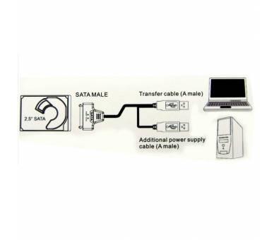 """Cable usb a SATA 2.5"""" disco duro externo HDD SSD Adaptador Conversor  - 8"""