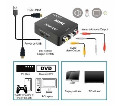 Adaptador Conversor De Señal HDMI a AV Rca Analogica Video -NTSC/PAL HDMI-to-AV  - 3