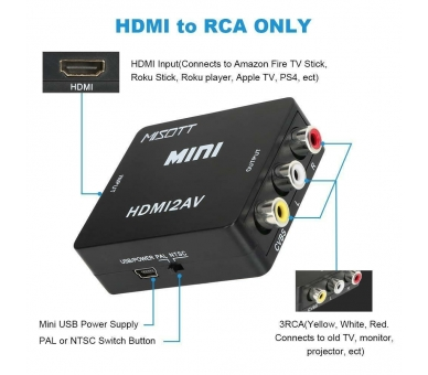 Adaptador Conversor De Señal HDMI a AV Rca Analogica Video -NTSC/PAL HDMI-to-AV  - 5