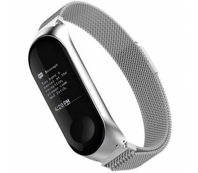 Correa Reloj Pulsera Ajustable de Acero Inoxidable para Xiaomi MI Band 3 Plata - 1