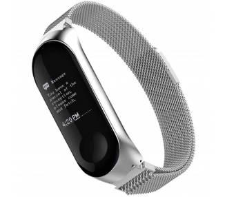 Correa Reloj Pulsera Ajustable de Acero Inoxidable para Xiaomi MI Band 3 Plata