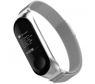 Watch Strap Adjustable Stainless Steel Bracelet for Xiaomi MI Band 3 Silver  - 1