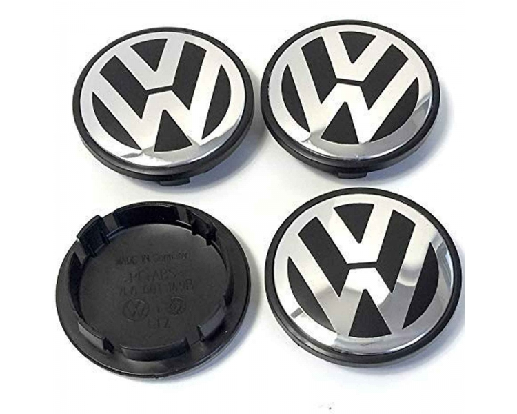 4 X TAPAS LLANTA RUEDA VOLKSWAGEN VW POLO GOLF PASSAT CADDY 65 MM LOGO 3B7601171 - 1